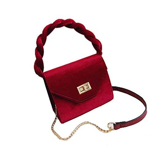 FANRENYOU Women Shoulder Bag Soild Clutch Chain Velvet Silk Bottom Handbag Red (Max Length<30cm)