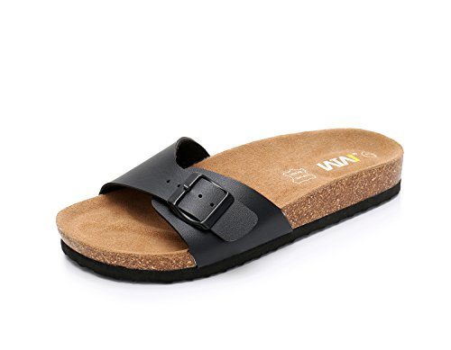 Women Leather Single Buckle Sandals Arizona Slide Shoes (US 7, Black) ()