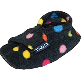 TOZIES Baby Toddler Boys Girls Soft Flexible Fleece Slippers Play Shoes Non Slip Soles – Dotty