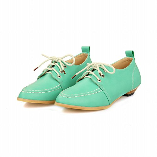 Carolbar Womens Fashion Lace-up Casual Comfort Retro Low Heel Oxfords Shoes Green J0LT0