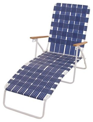 Rio Brands BY405-0138 Hi Back Web Chaise, Blue Hardwood Chaise Lounge