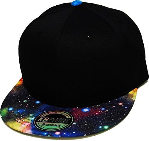 knw-1469gx-blk-blk-galaxy-print-brim-snapback-hat-cap