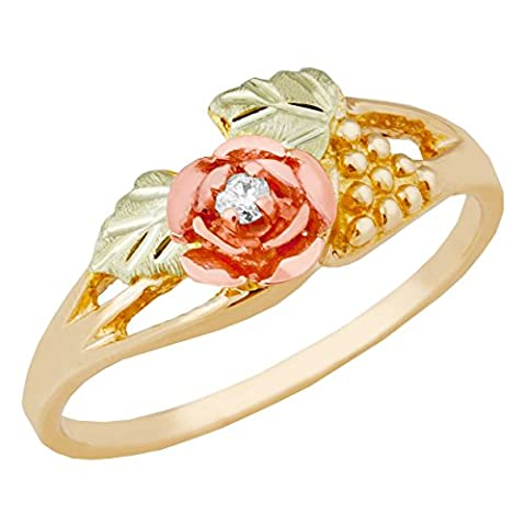 Petite Diamond 3D Rose Flower Ring, 10k Yellow Gold, 12k Green and Rose Gold Black Hills Gold Motif, Size - Black Hills White Gold Bands