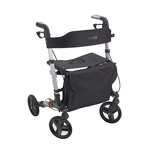 Juvo E-Z Compact Folding Rollator with Adjustable Handlebars, 300 lb. Capacity, Cherry Red (EZ101)