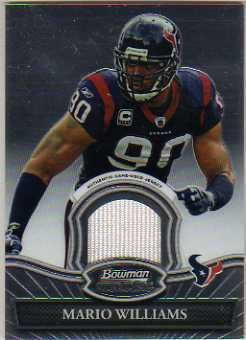 (2010 Bowman Sterling #BSRMWI Mario Williams A Game-Worn Jersey Card)