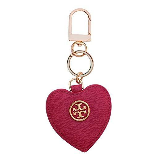 Tory Burch Leather Key Fob Heart Chain TB Logo (Carnation Red) by Tory Burch