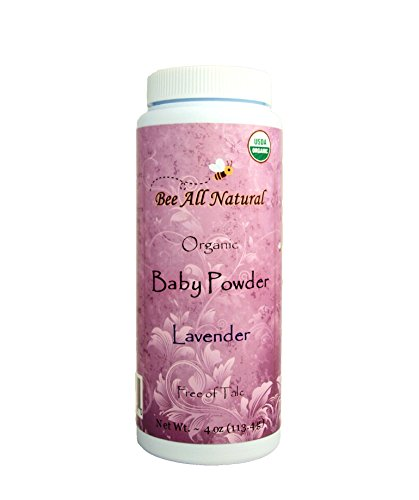 Bee All Natural Organic Baby Powder (Lavender), Talc-Free, 4-Ounce (Scented Baby Bottle)