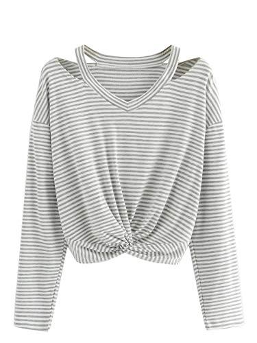 Verdusa Women's Long Sleeve Cut Out Twist Front Striped Crop Tee Top Grey L