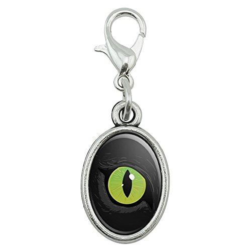 Cat Green Eye Antiqued Bracelet Pendant Zipper Pull Oval Charm with Lobster (Cat Eye Green Bracelet)