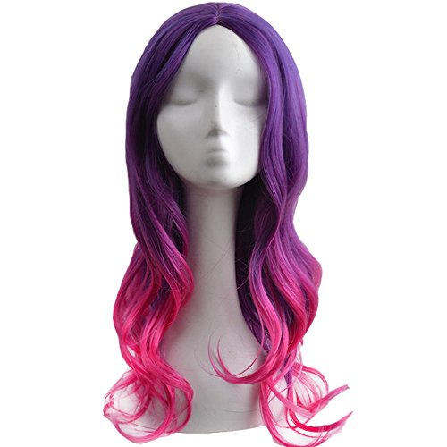 RightOn 22'' Long Curly Girls Women Sexy Ombre Hair Cosplay Costume Party Wig with Wig Cap and Comb (Purple Ombre Hot (Sexy Costumes Online)