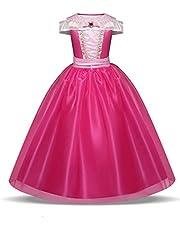 Costume da principessa Aurora della Bella Addormentata, colore rosa acceso, per bambine, età 3-10 anni