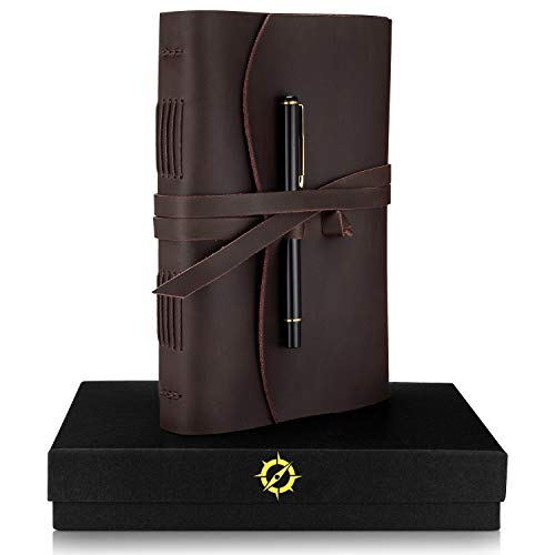 Leather Journal Lined Paper A5 Leather Bound Journal Gift Set Large 8.75 x 6-inch Vintage Writing Notebook for Men & Women Unique Travel Diary Luxury Writers Pen ()