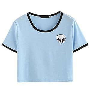 Ropalia Femmes Fille Alien Imprime T Shirt Top Blouse Manches
