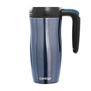Contigo Autoseal Randolph Stainless Steel Travel Mug with Button Lock 4 hours HOT and 12 Hours COLD, 16-Ounce, Placid Blue