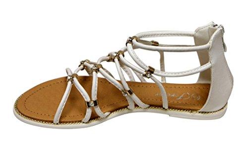 Voor Altijd Koesteren-37 Vrouwen Strass Gladiator Strappy Achter Rits Platte Sandalen Wit