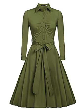 Beyove Women's V-Neck Long Sleeve Vintage Tea Dress With Belt Army Green S
