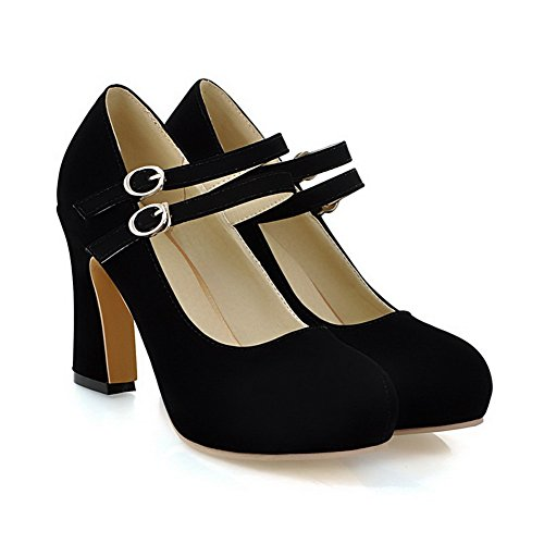Black WeiPoot Toe Closed 38 Buckle High Shoes Women's Pumps Frosted Heels Round BrrqtvZ