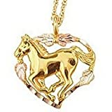 Black Hills Gold Heart Horse Necklace