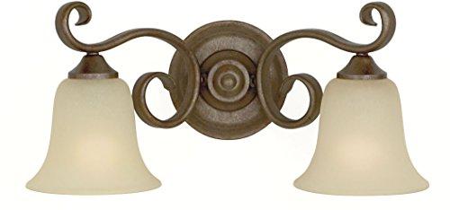 Cream Glass Shade - Murray Feiss VS10402-CB, Vista Vanity Fixture, 2 Light, 200 Watts, Corinthian Bronze with Cream Snow Glass Shades