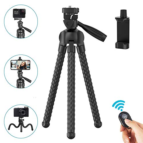 Phone Tripod Upgraded, 11 inch Flexible Cell Phone & Camera Tripod Stand Holder with Wireless Remote Shutter and Universal Phone Mount, Compatible with iPhone, Android Phones, Sports Camera GoPro