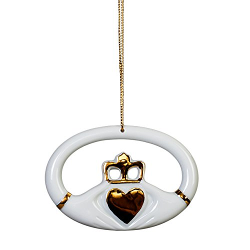 Claddagh The Heart Is Love Gold White Porcelain Chistmas Ornament ()