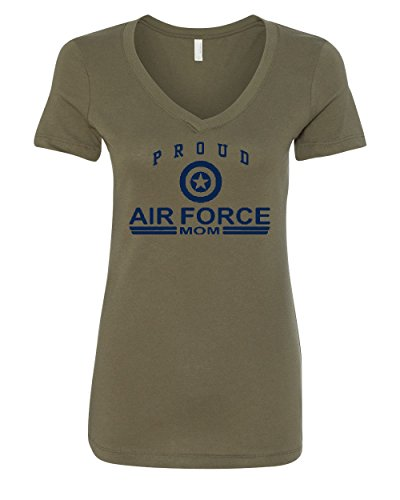 - Proud Air Force Mom V-Neck T-Shirt US Air Force USAF Military Green M