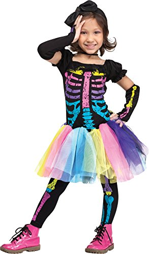 [UHC Girl's Funky Punky Bones Skeleton Theme Outfit Toddler Halloween Costume, Toddler S 2T] (Funky Punky Skeleton Costumes)