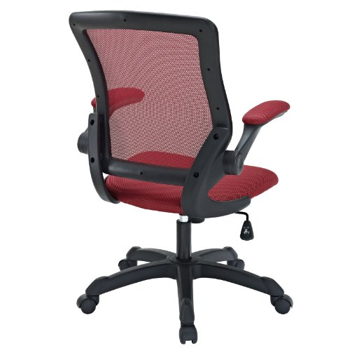 LexMod Veer Office Chair with Mesh Back and Mesh Fabric Seat, Red