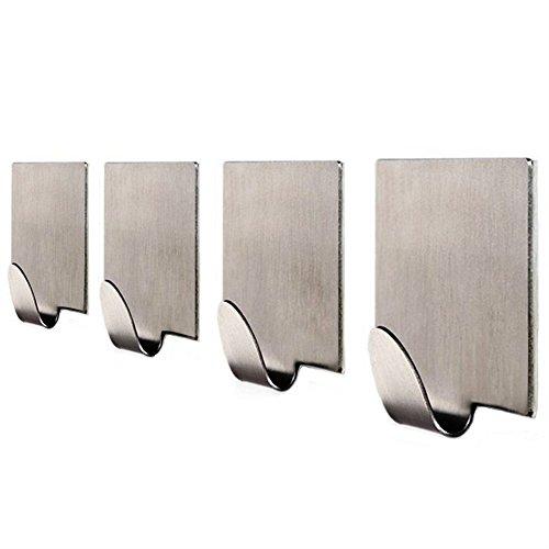304 Stainless Steel Self Adhesive Hook Bathroom Kitchen Towel Hanger Style 4 - 5