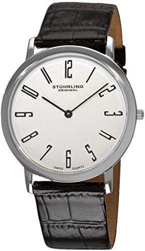 Slim Swiss Watch - Stuhrling Original Men's 216A.33153 Classic Ascot Belmont Swiss Quartz Slim White Dial Watch