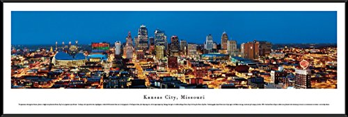 Kansas City, Missouri - Blakeway Panoramas Skyline Posters with Standard Frame - Missouri Art Glass Frame
