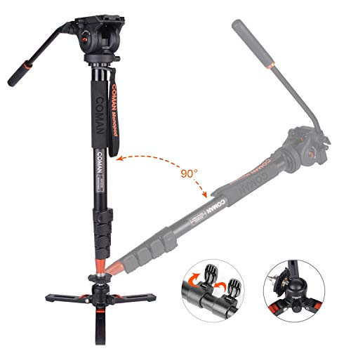 Fluid Head Monopod, Coman KX3232Plus Professional Camera Monopod with Feet for Cameras, Canon, Nikon, Sony, DSLR, Video Camcorder