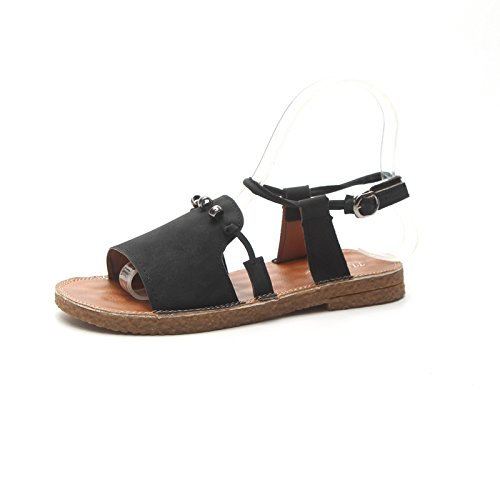 Summer 37EU Low Cut Roman puro New Sandalias Color Bajo Negro Color Shoes cómodo Wear Cómodo Femeninas 2018 Buckle Fish antideslizante Negro tamaño resistant Sandalias Wild Buckle Style Summer Suela ZUxppT