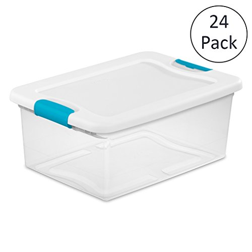 Sterilite 1494 15-Quart Clear Latching Stacking Storage Box, 24 Pack