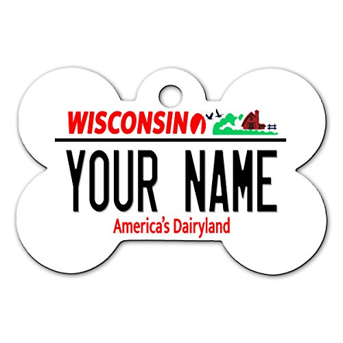BleuReign(TM) Personalized Custom Name Wisconsin State License Plate Bone Shaped Metal Pet ID Tag with Contact Information