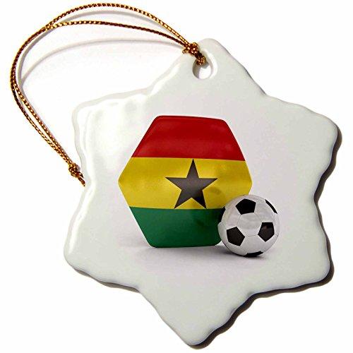 3dRose orn_181903_1 Ghana Soccer Ball Snowflake Ornament, Porcelain, 3-Inch by 3dRose