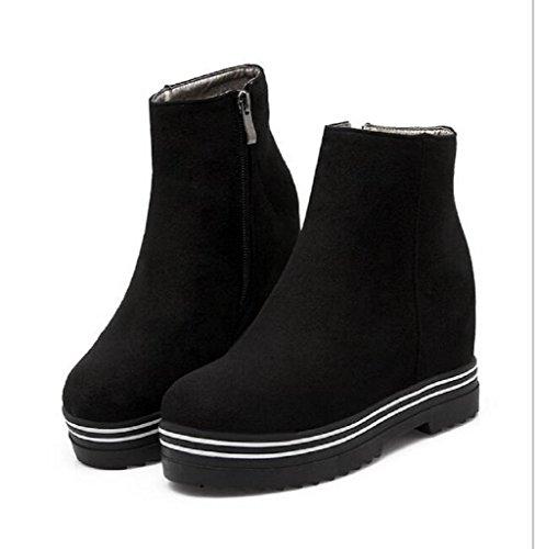 Las mujeres friegan moda caliente dentro cuñas Martin botas botas de nieve black