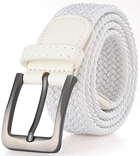 Gallery Seven Woven Elastic Braided Belt For Men - Fabric Stretch Casual Belt - White - Medium ()