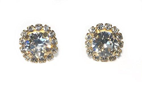 Design Clear Swarovski Crystal Ring - Swarovski Crystal Halo Stud Earring (Clear Crystal, yellow-gold-plated-base)