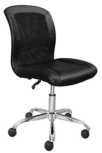 (Serta Essentials Ergonomic Armless Low-Back Computer Swivel Task Chair, Faux Leather and Mesh, Black)