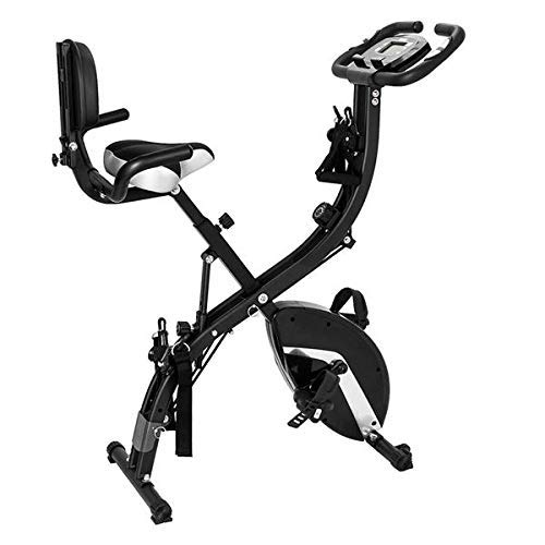 wesoky 3-in-1 Folding Upright Bike, Magnetic Exercise Bike with Adjustable Arm Resistance Bands 8-Level Adjustable Magnetic Resistance LCD Monitor, for Whole Body Workout Exercise