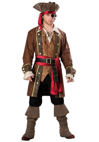 InCharacter Costumes Men's Captain Skullduggery Pirate Costume, Brown,