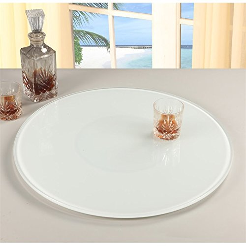 Chintaly Imports Lazy Susan Round Rotating Tray, 24-Inch, Glass/White by Chintaly Imports