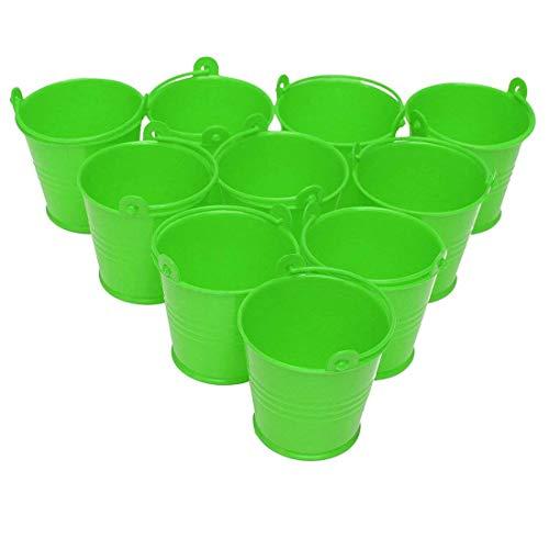 10pcs Mini Buckets Metal Iron Candy Box Bucket Wedding Party Favor Gift Bucket - Green