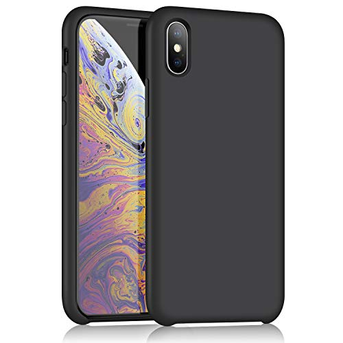 XSHNUO iPhone Xs Silicone Case, Gel Rubber Ultra Thin Case Soft Microfiber Cloth Lining Cushion for Apple iPhone Xs (2018)/iPhone X (2017) 5.8 inch (Black) ()