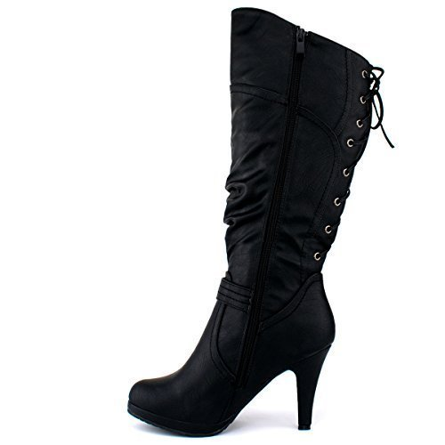 Premier Standard - Women's Mid-Heel Trendy Fashion Boot, TPS Page-65 v3 Black Size - Womens Fashion Trendy