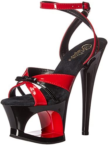 Pleaser MOON-728 Red-Blk Pat/Blk UK 5 (EU 38)