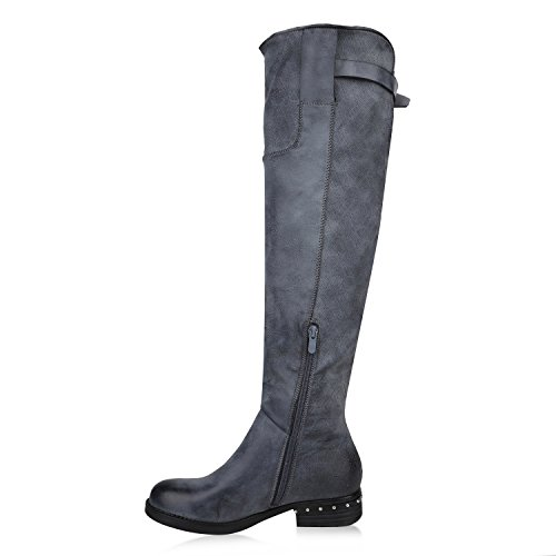 Stiefelparadies Damen Reiterstiefel mit Blockabsatz Nieten Zipper Flandell Grau Grey Carlton