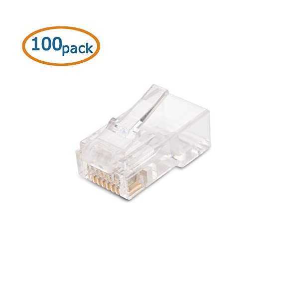 Cable Matters 100 Pack Cat 6 / Cat6 RJ45 Modular Plugs for Solid or Stranded UTP Cable / RJ45 Plugs 2 DIY NETWORK PATCH CABLE RJ45 connectors terminate unshielded twisted pair stranded or solid cable for making a custom-length Cat 6 Ethernet cable; Supports 23 to 28 AWG round or flat stranded wire with an outside diameter up to 6.3mm CATEGORY 6 PERFORMANCE rated for a Gigabit Ethernet channel compliant network; Backwards compatible with Cat 5e stranded or solid cable; 50 micron gold-plated contacts on 8P8C network connectors provide superior transmission and resist corrosion for a Cat6 cable COST-EFFECTIVE 100-PACK of Cat6 connectors provides enough connectors for a large project or multiple small jobs; Construct multiple patch cables in the perfect length for router, patch panel, or workstation applications with this crimp connector