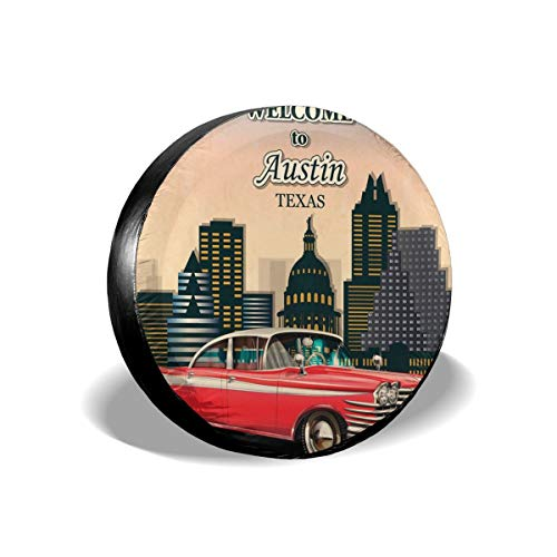 GULTMEE Tire Cover Tire Cover Wheel Covers,Retro Grungy Classical Red American Car and City Landmarks Welcome to Texas Greeting,for SUV Truck Camper Travel Trailer Accessories(14,15,16,17 Inch) 15